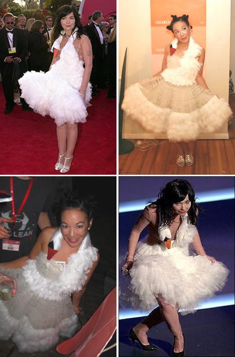 bjork swan dress. whoranging in jork#39;s swan