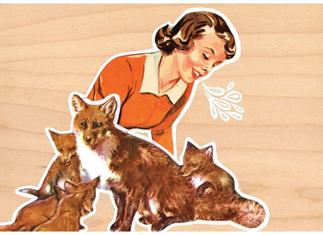 Woman and foxes cub and cabin