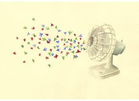 Lotte geeven bird Confetti over manhattan fan painting