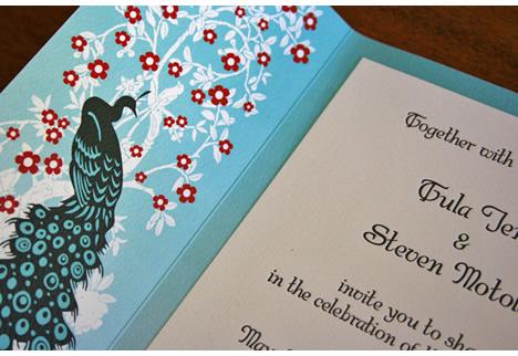 DIY letterpress wedding invitation peacocks