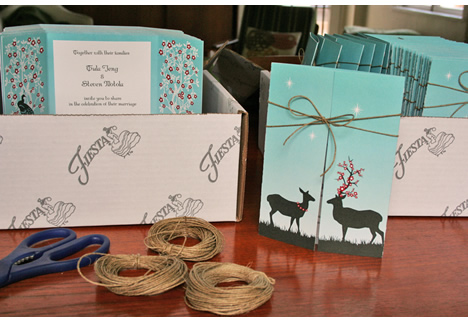 Diy hemp tied wedding invitations deer