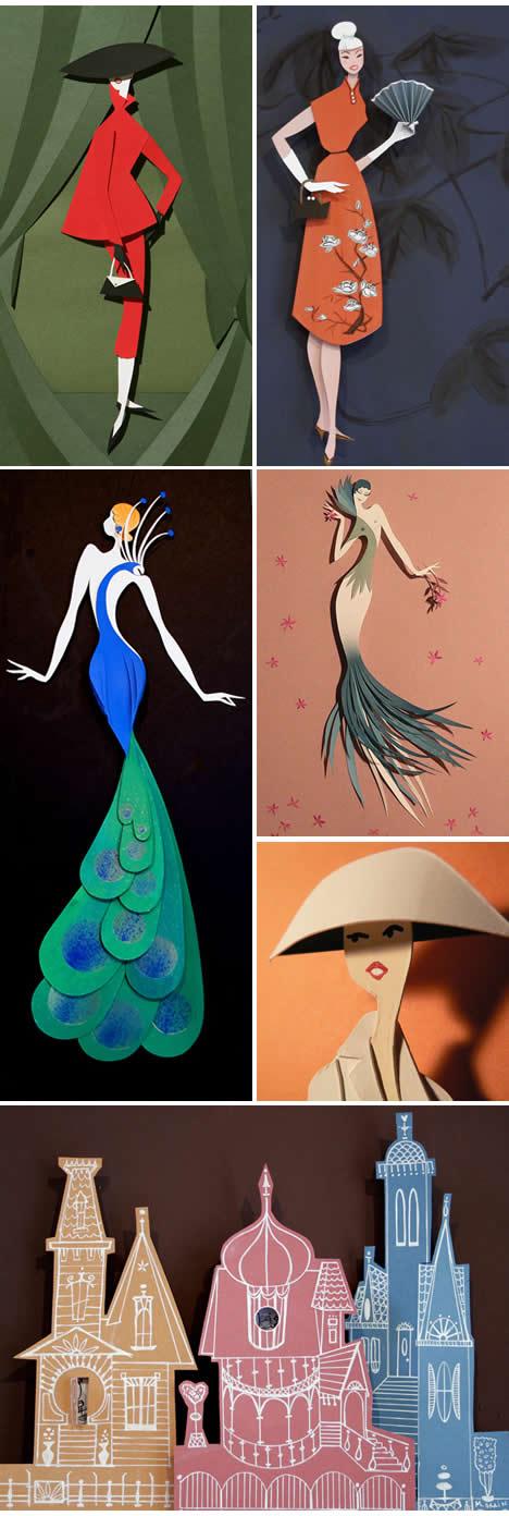 Megan brain paper sculpture fashion papercuts