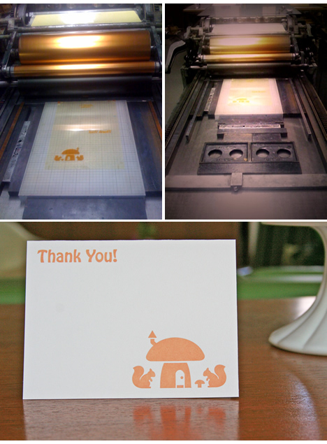 DIY letterpress thank you card squirrel