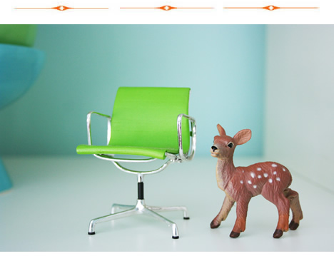 Apple green eames chair and deer_