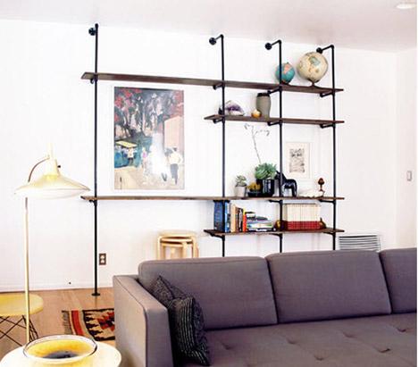 Brick_house_DIY_plumbing_pipe_bookshelf