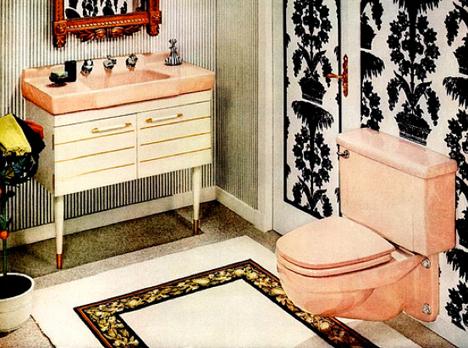 60s_bathroom_black_wallpaper_pink_sink