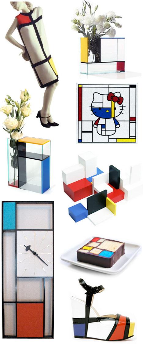 Mondrian_dress_yves_st_laurent_clock_ Louboutin_shoe_hello_kitty
