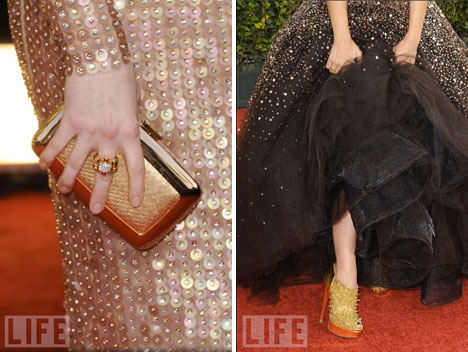 Roger Vivier_gold_clutch_Christian_Louboutin_gold_shoes_golden_globes_fashion