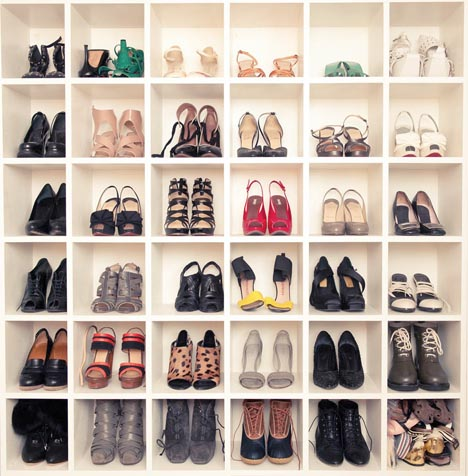 Teen_vogue_fashion_news_director_shoe_wall_bookshelf_cubby