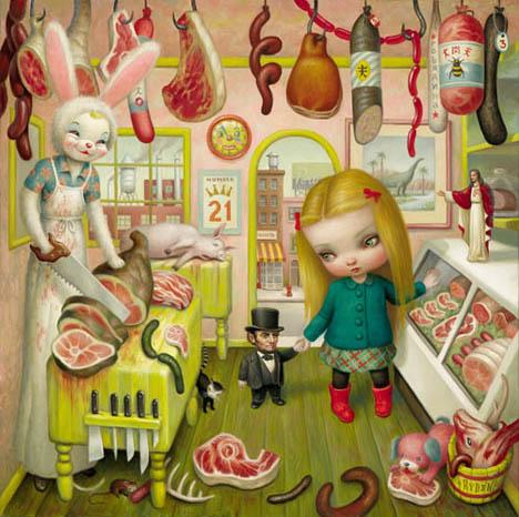 Mark-ryden-butcher-bunny-meat-market-art