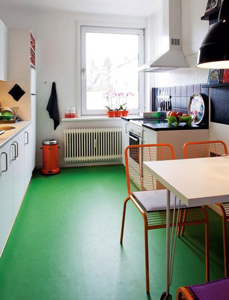 Denmark-modern-home-green-floor-kitchen