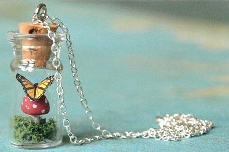 Tiny-terrariums-butterfly-mushroom-necklace