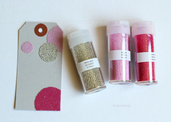 Pugly-pixel-microbead_DIY-gift-cards-martha-stewart-gold