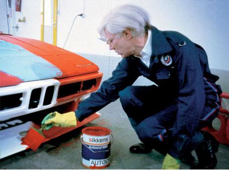 Andy-warhol-painting-orange-sports-car
