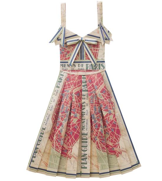 Paris-handmade-vintage-printed-maps-paper-folded-dress