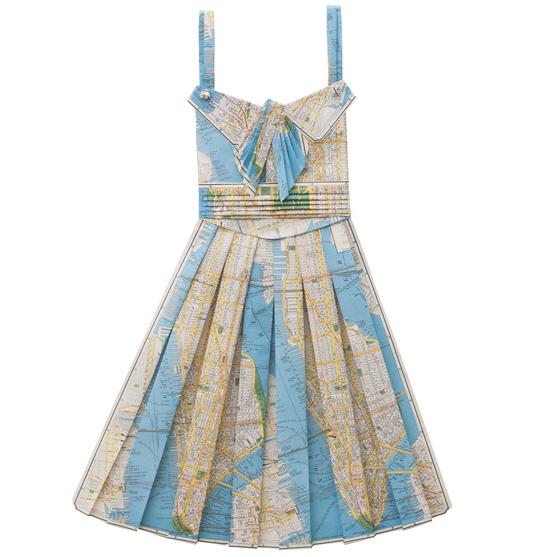 Handmade-vintage-printed-maps-paper-folded-dress