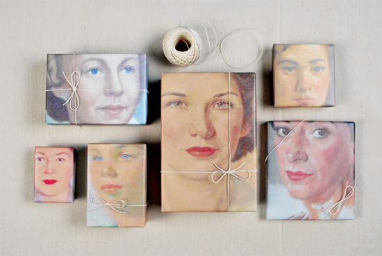 DIY-portrait-wrapping-paper-photocopy-vintage-