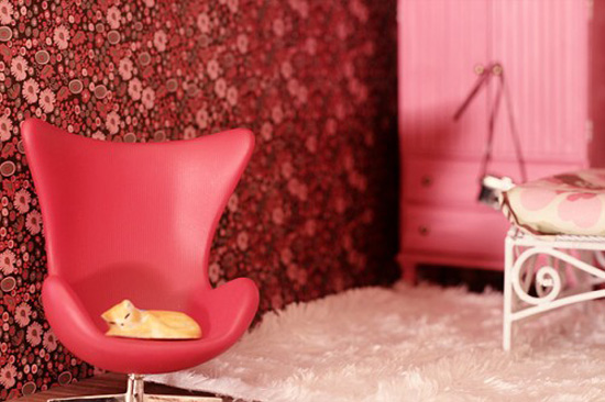 Nicole-Balch-making-it-lovely-modern-pink-dollhouse-Arne-Jacobsen-minature-chair