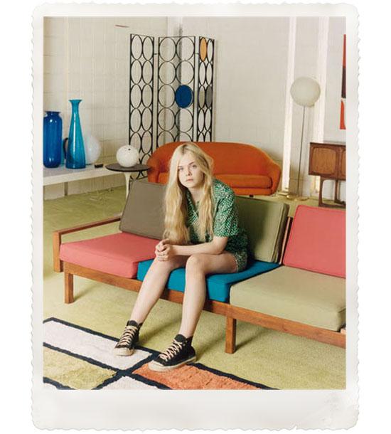 Elle-Fanning-Venetia-Scott-self-service-magazine-vintage-mid-century-style-couch