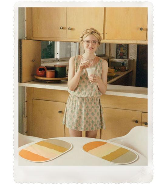 Elle-Fanning-Venetia-Scott-self-service-magazine-vintage-mid-century-style-kitchen