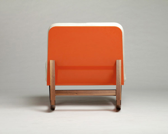 Lagomorph-design-orange-white-leather-rocking-chair-modern-walnut
