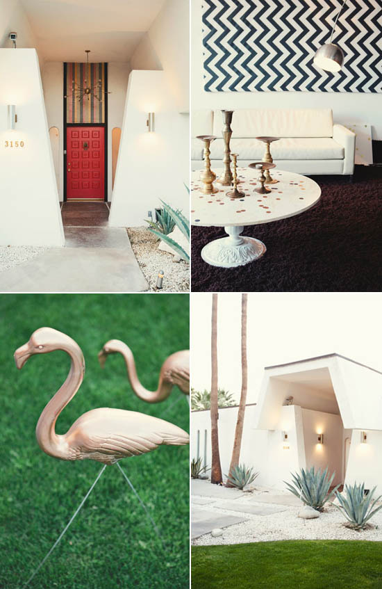 Mid-century-home-pink-gold-lawn-flamingos-palm-springs