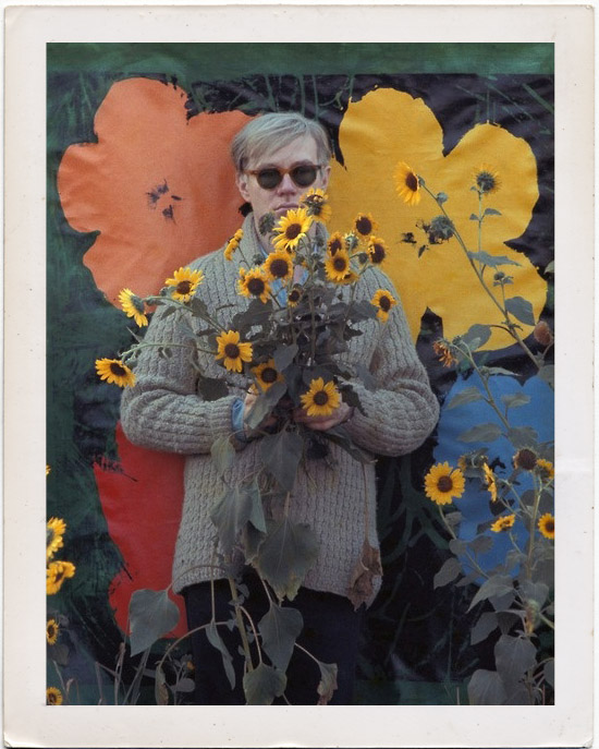 Andy Warhol Sunflowers Pose on Whorange
