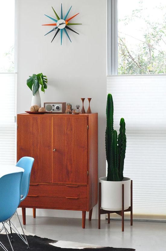 Tall cactus modernica planter herman miller sunburst clock