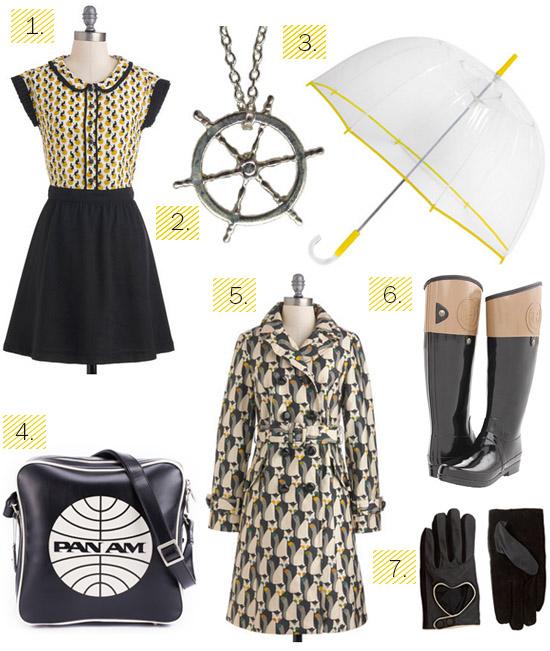 Rainy winter weather yellow black fashion