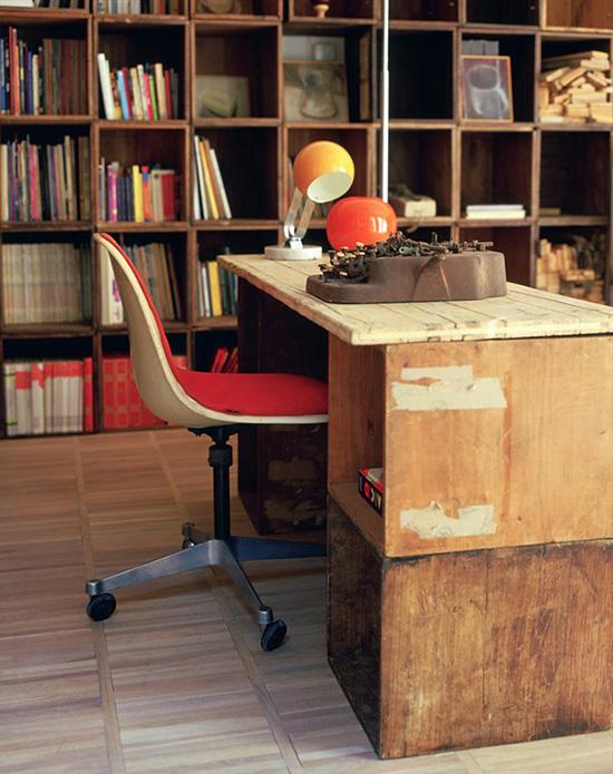 Modern cubby bookshelf crate desk