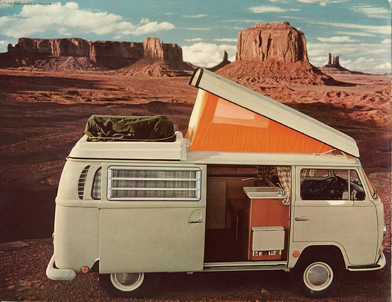 1968 VW Bus with orange pop up