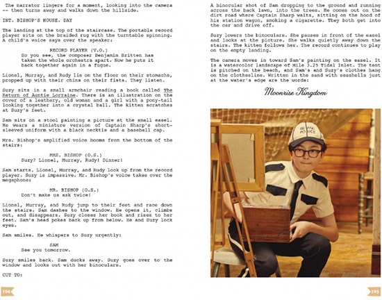 Moonrise Kingdom screenplay interactive script