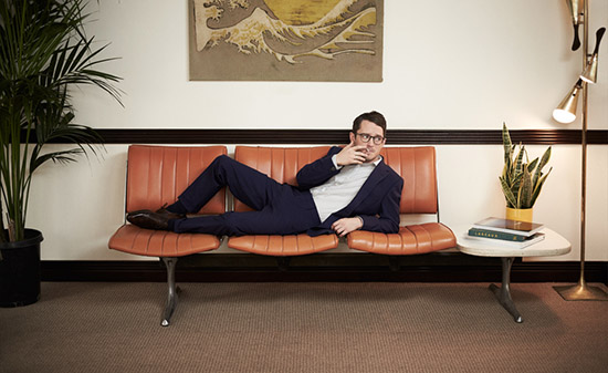 Elijah Wood Mr Porter mid century sofa Paul Smith