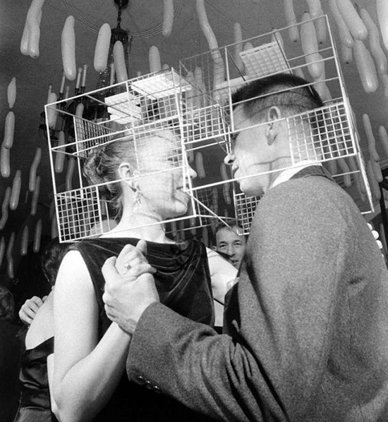 Vintage costume party Wire cube couple