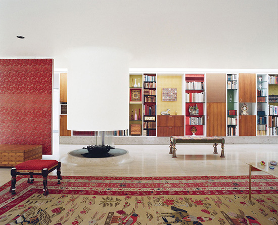 Alexander Girard Miller house cylindrical fireplace living room photography Leslie Williamson