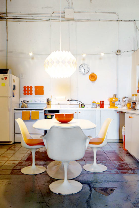 Kelly reemtsen downtown artist loft downtown los angeles saarinen orange tulip table and chairs