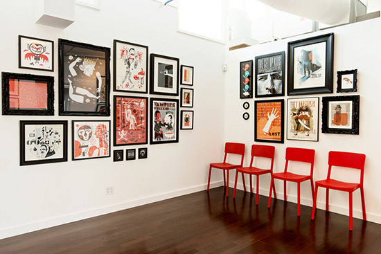 Ty Mattson Southern California office graphic design gallery wall