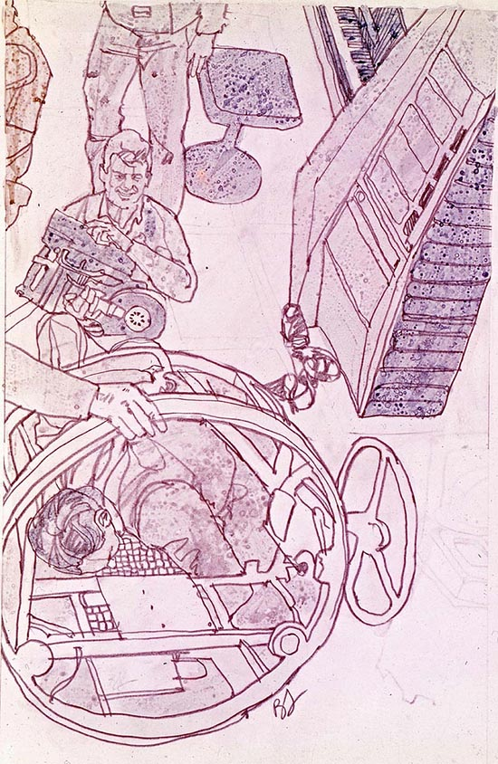 2001 film set Stanley Kubrick illustrated by Brian Sanders