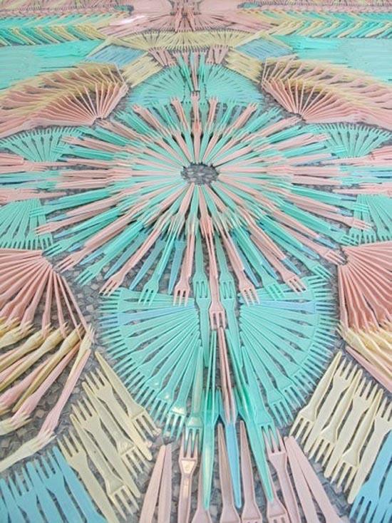 Pattern of pastel plastic forks