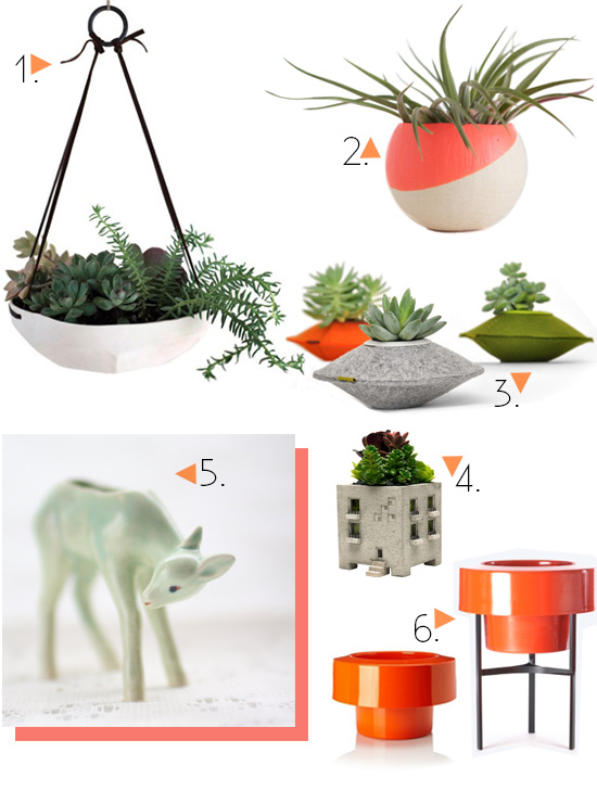 Vintage and modern planters and vessels for succulents air plants