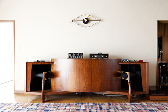 with mid century modern console
