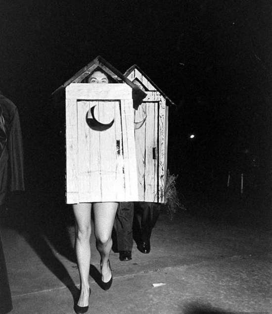 Vintage costume party outhouses