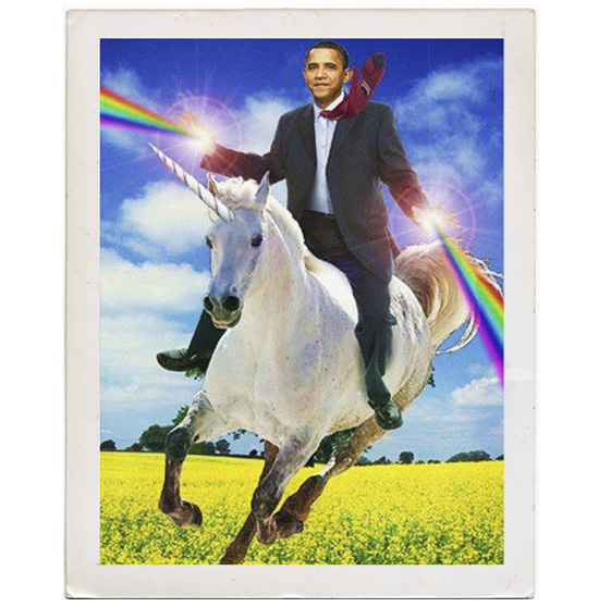 Obama rainbows and unicorn