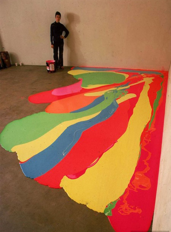 Artist Lynda Benglis painting floor with bright neon paint 04