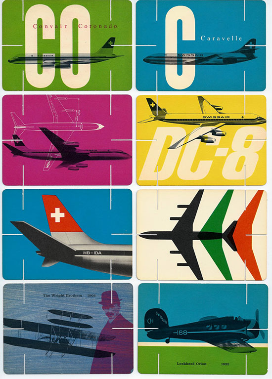 Swissair cards Eames style house of cards