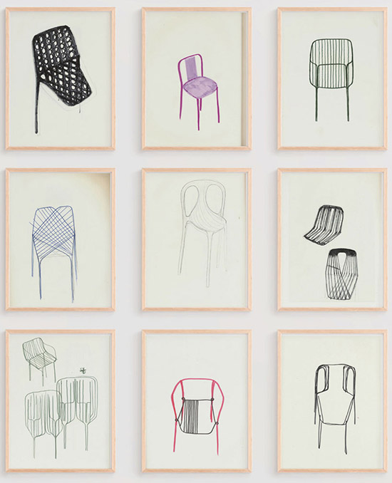 Ronan and erwan bouroullec chair drawings album exhibition close up