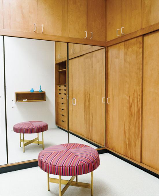 Alexander Girard Miller house master closet stool and mirror