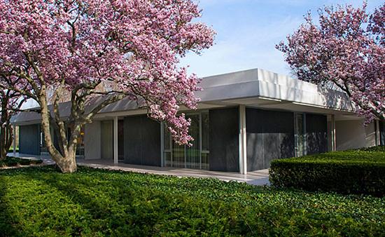 Dan Kiley Miller house architecture cherry blossom trees