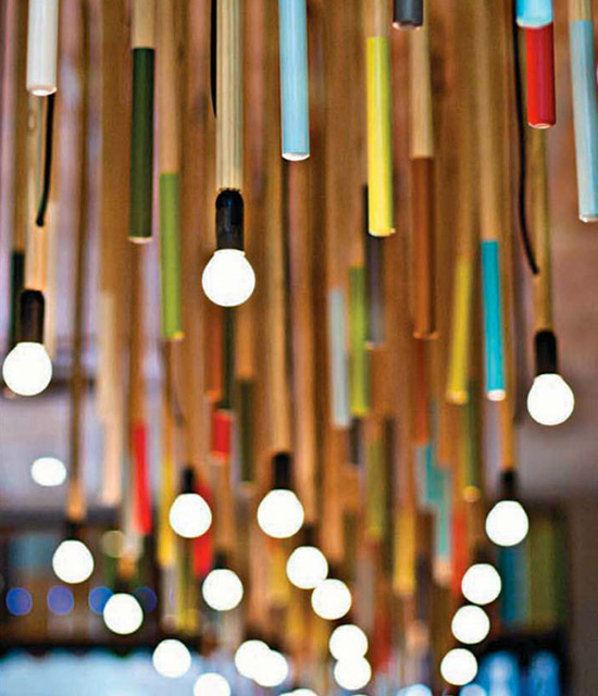 Multi color pendant lamps colour cafe Kevin Boyd Designs