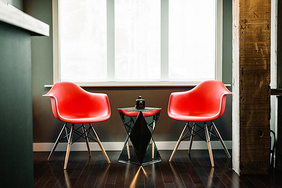 Ty Mattson Southern California office Molded Plastic Dowel Leg Eames Chairs
